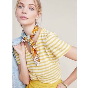 Anthropologie Yellow and White Striped Top